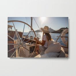 Girl onboard a sailing yacht- nautical photography- sailor Metal Print
