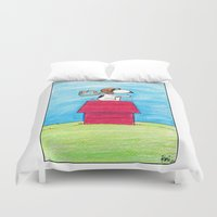 pilot Duvet Covers featuring pilot Snoopy by DROIDMONKEY