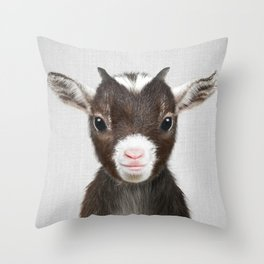Baby Goat - Colorful Throw Pillow