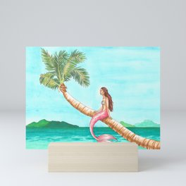 Mermaid on a Palm Tree Mini Art Print