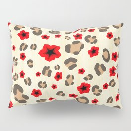 Romantic Leopard Print Pattern with Red Flowers Pillow Sham