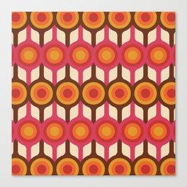 Magenta, Orange, Ivory & Brown Retro 1960s Circle Pattern Canvas Print