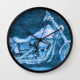 Harley Dyna Street Bob 2017 BLUE on stone Wall Clock