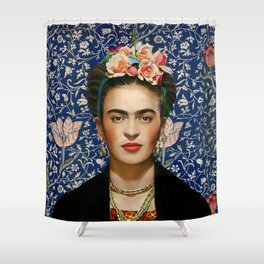 Frida with Vintage Medway Tapestry Background Shower Curtain