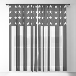 American Flag Stars and Stripes Black White Sheer Curtain