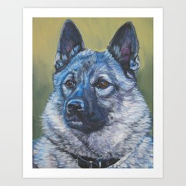 Norwegian Elkhound dog art portrait from anoriginal painting by L.A.Shepard Art Print