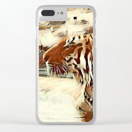 Warm colored Animal swimming tiger Clear iPhone Case