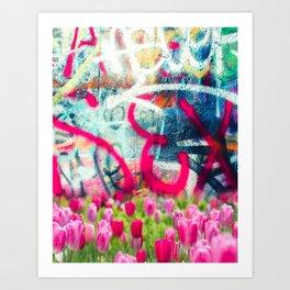 Sexy Flowers and Graffiti Art Print