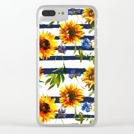 Yellow orange watercolor sunflowers brushstrokes stripes Clear iPhone Case