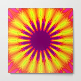 Sunrise Color Burst Flower Metal Print