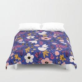 Fantasy flowers on blue Duvet Cover