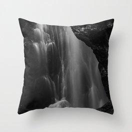 Black and white waterfall long exposure Throw Pillow