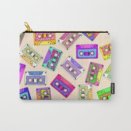 Retro 80's 90's Neon Patterned Cassette Tapes Carry-All Pouch