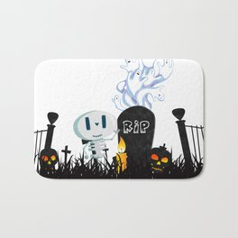 Cute Skeleton and Ghosts Beside a Gravestone Bath Mat