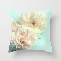 blush Throw Pillows featuring blush by Sylvia Cook Photography