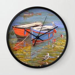 Blue And Orange Boats At The Harbor Wall Clock
