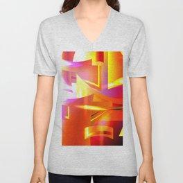 Golden Angelic Armor (Geometric Abstract Digital Art) #08 Unisex V-Neck