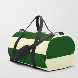Dark Emerald Green and Cream Large Stripes Duffle Bag