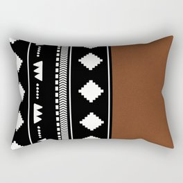 Southwestern Black with faux leather texture Rectangular Pillow