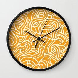 Mustard yellow line pattern Wall Clock