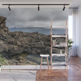 Twin lights cloudy day Wall Mural