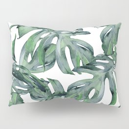 Tropical Palm Leaves Green and White Pillow Sham