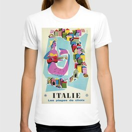Retro naive cubist Italian beaches, mermaid travel ad T-shirt