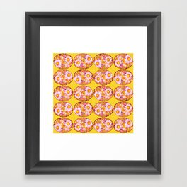 Floral Scalloped Oval in Purples, Browns and Mustard Yellow Framed Art Print