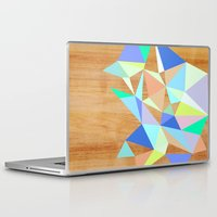 wooden Laptop & iPad Skins featuring Wooden Geo Aqua by Jenna Mhairi