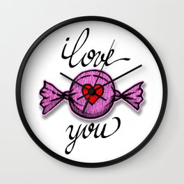 I love you (pink) Wall Clock