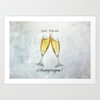 champagne Art Prints featuring Champagne! by mJdesign