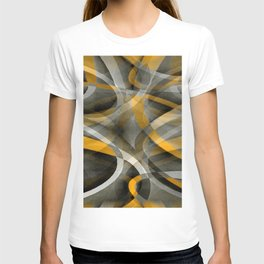 Eighties Retro Mustard Yellow and Grey Abstract Curves T-shirt