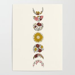 Floral Phases of the Moon Poster