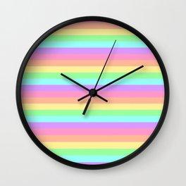 Pastel Rainbow Stripes Wall Clock