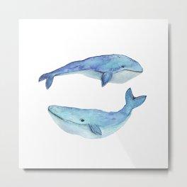 whale watercolor Metal Print
