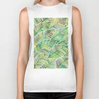 tropical Biker Tanks featuring Tropical Green by Cat Coquillette