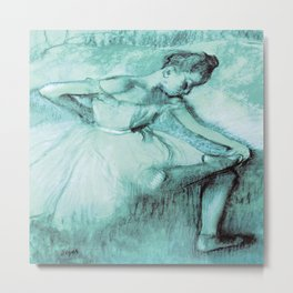 Dancer  by Edgar Degas Teal Metal Print
