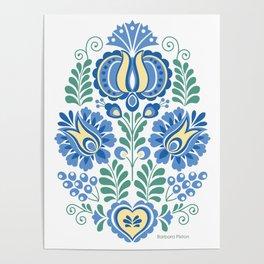 Moravian Folk Design Blue Poster