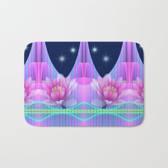 Magical night with Lotus flowers Bath Mat