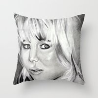 jennifer lawrence Throw Pillows featuring Jennifer Lawrence by Papa-Paparazzi