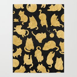 Gold on Black Kitty Pattern Poster