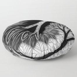 Prominent B & W Tree Mirage Floor Pillow