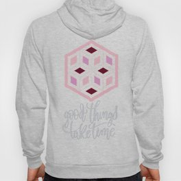 Pink Sequins Cube Good Things Take Times Typography Hoody