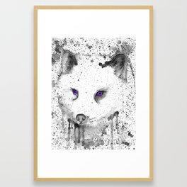 black and white : Fox Framed Art Print