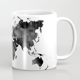 World Map | Black and White Watercolour Coffee Mug