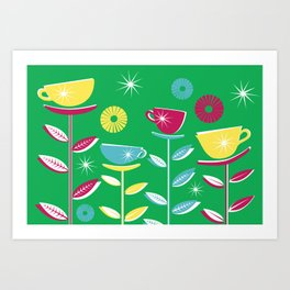 Teacups - Green Art Print