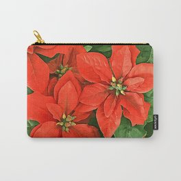 Happy Valentine's Day Red Poinsettia Christmas Flowers Carry-All Pouch