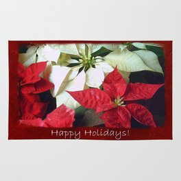 Mixed Color Poinsettias 2 Happy Holidays P5F5 Rug
