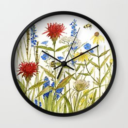 Garden Flower Bees Contemporary Illustration Painting Wall Clock