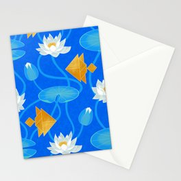 Tangram goldfish and water lilies in blue Stationery Cards